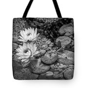 4445- Lily Pads Black And White Tote Bag
