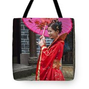 4503- Girl With Umbrella Tote Bag