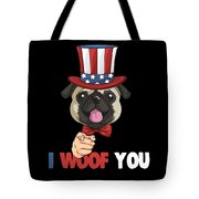 4th Of July Usa Indepedence Day Patriotic Uncle Sam Pug Dog Tote Bag