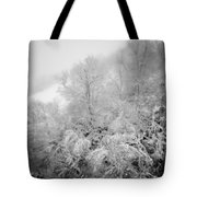 Abstract Scenes At Ski Resort During Snow Storm Tote Bag