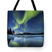 Aurora Borealis Over Sandvannet Lake Tote Bag by Arild Heitmann
