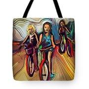 5 Bike Girls Tote Bag by John Jr Gholson