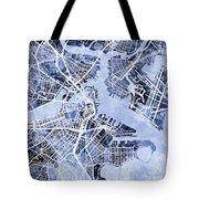 Boston Massachusetts Street Map Tote Bag