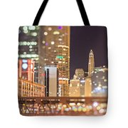 Chicago Illinois Tilt Effect Cityscape At Night Tote Bag
