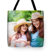 Happy Mother With Daughter Tote Bag