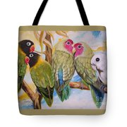 Flygende Lammet     Productions          5 Lovebirds Sitting On A Twig Tote Bag