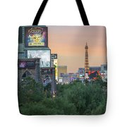 november 2017 Las Vegas, Nevada - evening shot of eiffel tower a Tote Bag