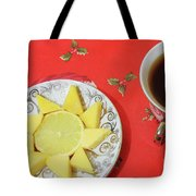 On The Eve Of Christmas. Tea Drinking With Cheese. Tote Bag