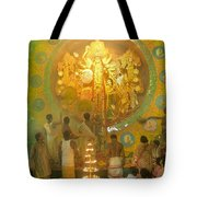 Priest Praying To Goddess Durga Durga Puja Festival Kolkata India Tote Bag