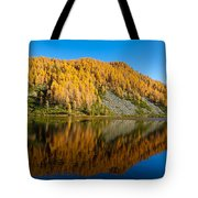 Reflections On Water, Autumn Panorama From Mountain Lake Tote Bag