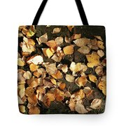Silver Birch Leaves Lying On A Brick Path In A Cheshire Garden On An Autumn Day   England Tote Bag
