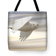 Snowy Owl In Flight Tote Bag
