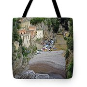 This Is A View Of Furore A Small Village Located On The Amalfi Coast In Italy  Tote Bag