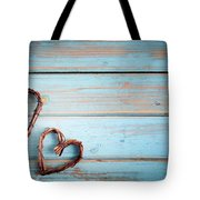 Two Hearts On Wooden Background Tote Bag