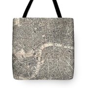 Vintage Map Of London England  Tote Bag