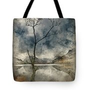 Watercolour Painting Of Beautiful Autumn Fall Landscape Image Of Tote Bag
