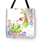 Welcome Spring. Rabbit And Flowers Tote Bag