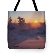 Winter Evening Landscape With Forest, Sunset And Cloudy Sky.  Tote Bag