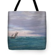 Yachts In A Stormy Sea Tote Bag