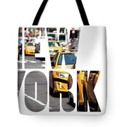 Yellow Cab Speeds Through Times Square In New York, Ny, Usa.  Tote Bag