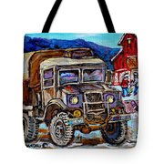 50's Dodge Truck Red Wood Barn Outdoor Hockey Rink  Art Canadian Winter Landscape Painting C Spandau Tote Bag