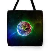 56996 3d Space Scene Colorful Digital Art Earth Tote Bag