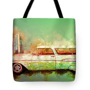 57 Chevy Nomad Wagon Blowing Beach Sand Tote Bag