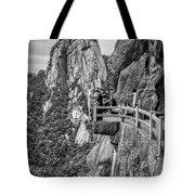 5807- Yellow Mountains Black And White Tote Bag