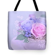 A Gift Of Preservrd Flower And Clay Flower Arrangement, Blue And Tote Bag