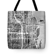 Chicago City Street Map Tote Bag