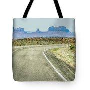 descending into Monument Valley at Utah  Arizona border  Tote Bag