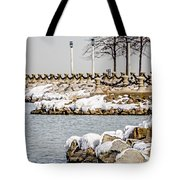Frozen Winter Scenes On Great Lakes  Tote Bag