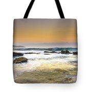 Hazy Dawn Seascape With Rocks Tote Bag