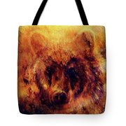 head of mighty brown bear, oil painting on canvas and graphic collage. Eye contact. Tote Bag