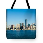Miami Florida City Skyline Morning With Blue Sky Tote Bag
