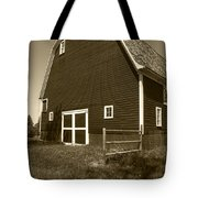 Barn And Wild Flowers Sepia Tote Bag