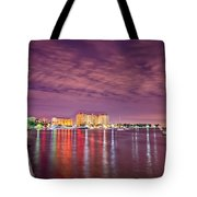 St Petersburg Florida City Skyline And Waterfront At Night Tote Bag