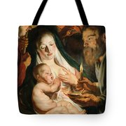 The Holy Family With Shepherds Tote Bag