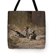 U.s. Soldier Conducts A Combat Training Tote Bag