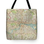 Vintage Map Of London England  Tote Bag