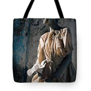 Woman In Bronze Statue Look With Patina Body Paint Tote Bag