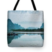 Lijiang River And Karst Mountains Scenery Tote Bag