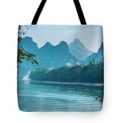 Lijiang River And Karst Mountains Scenery Tote Bag by Carl Ning