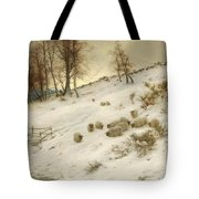 A Flock Of Sheep In A Snowstorm Tote Bag
