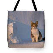 Cat On A Greek Island Tote Bag