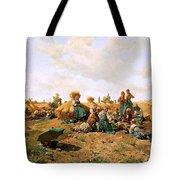 Peasants Lunching In A Field Daniel Ridgway Knight Tote Bag