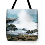 Rocks And Waves At Point Cartwright  Tote Bag