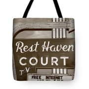 Route 66 - Rest Haven Motel Tote Bag