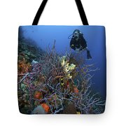 Scuba Diver Swims Underwater Amongst Tote Bag by Terry Moore