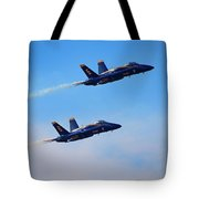U S Navy Blue Angeles, Formation Flying, Smoke On Tote Bag